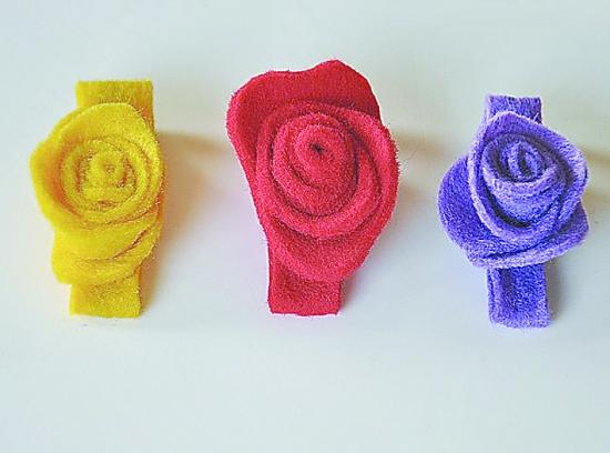 制作玫瑰花儿童发夹