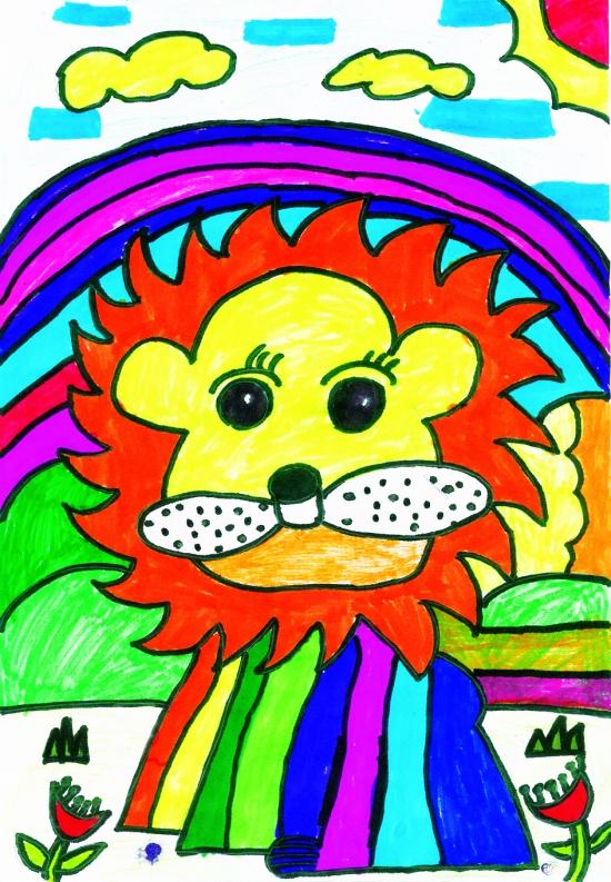 卡通 狮子 儿童画