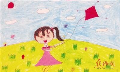 放风筝的小女孩