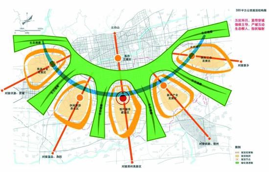 编者按 焦作新区空间发展战略规划已于近日通过专家组鉴定,经设计方修正后,予以确认。本报从今日起在《焦作新区》版面上分六期进行详细解读,待刊发完毕后,将进行有奖问答。敬请关注,恭候参与。 焦作,一个美丽而又脆弱的地方,一座古老而又年轻的城市,在发展的十字路口徘徊。如何打破制约城市发展的桎梏,提出城市发展新思路,构建城市发展新模式,开创城市发展新格局? 区位分析 焦作市地处中国东西结合部,是中原经济区核心区六大城市之一,处于中原城市群紧密联系圈中,北依太行与山西省接壤,南临黄河与郑州、洛阳相望。 焦作新区位于